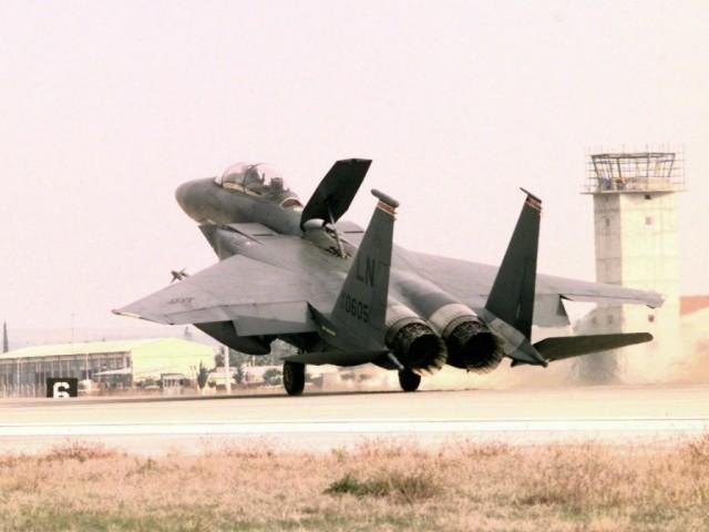 F-15E landing